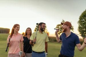 Enjoying their day of golf together